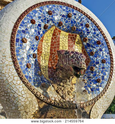 Barcelona, Spain, Dragon Head, Antoni Gaudi Catalan