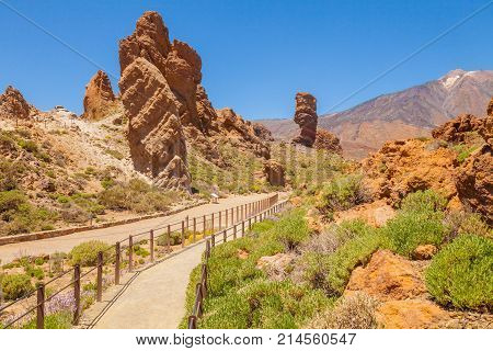 April 2014 Teide This is the entrance to the Teide National Park in Tenerife where the tourists in the spring are about to reach the famous peak.
