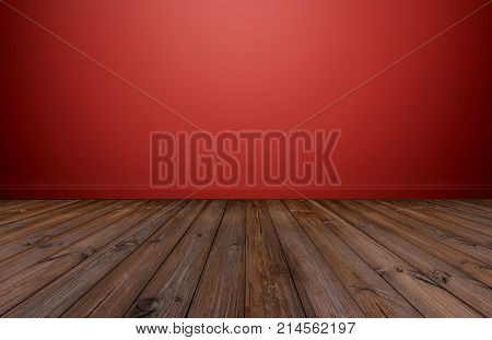 Hardwood floor with red wall, empty room for background