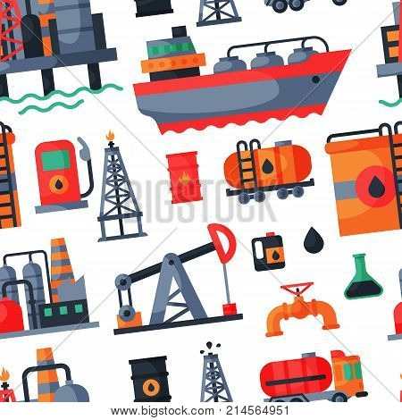 Oil petroleum extraction processing transportation recovery industry refinery fuel gas drilling industrial pump vector illustration. Tanker platform technology seamless pattern background