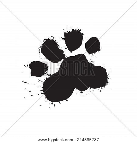 Grunge Dog Foot Print Black Paw Isolated On White Background Vector Illustration