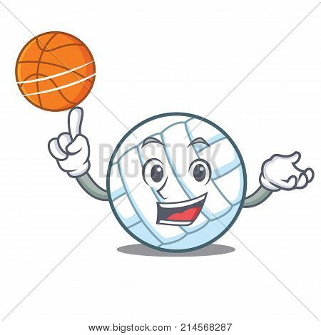 With basketball volley ball character cartoon vector illustration