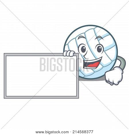With board volley ball character cartoon vector illustration