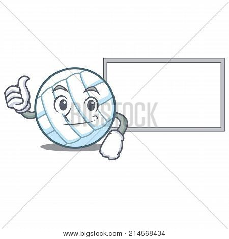 Thumbs up with board volley ball character cartoon vector illustration
