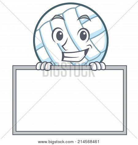 Grinning with board volley ball character cartoon vector illustration