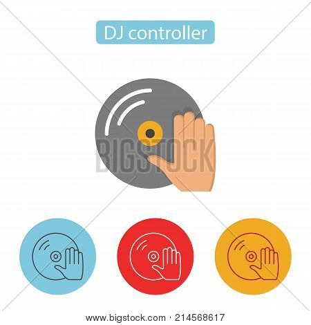 DJ Turntable Record Player With Hand Icon. Vinyl record with a hand image. Single flat color icon. Pictogram for web site design and mobile apps. Vector illustration.