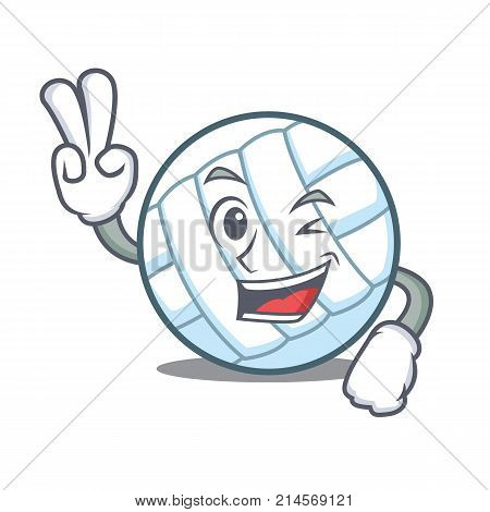 Two finger volley ball character cartoon vector illustration