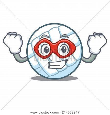 Super hero volley ball character cartoon vector illustration