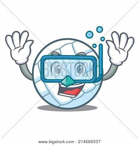 Diving volley ball character cartoon vector illustration