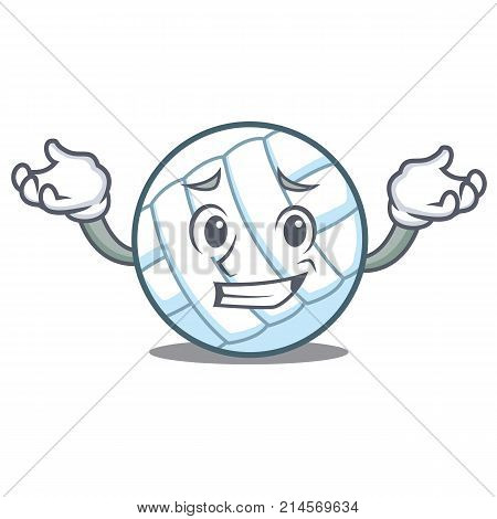 Grinning volley ball character cartoon vector illustration poster