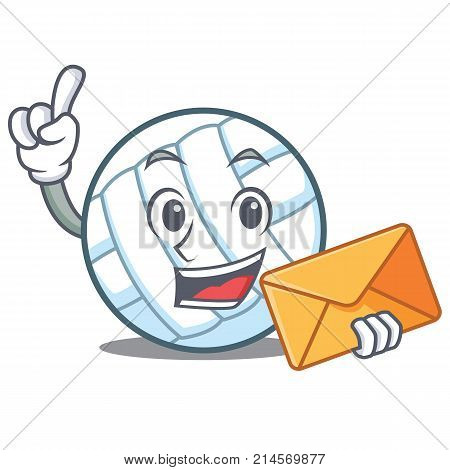 With envelope volley ball character cartoon vector illustration