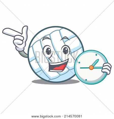 With clock volley ball character cartoon vector illustration