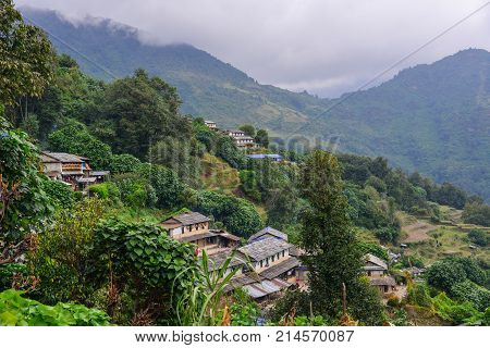 Mountain Village In Grandruk, Nepal