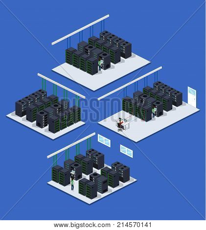 Isometric 3D Vector Illustration Concept Server Room Data Center Set Collection