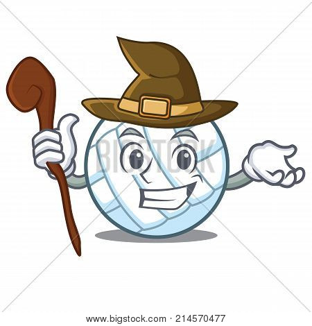 Witch volley ball character cartoon vector illustration