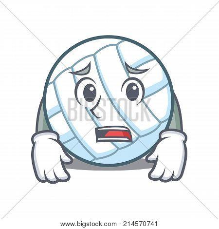 Afraid volley ball character cartoon vector illustration poster