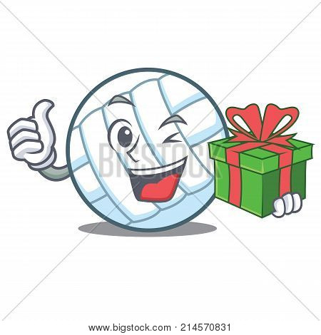 With gift volley ball character cartoon vector illustration