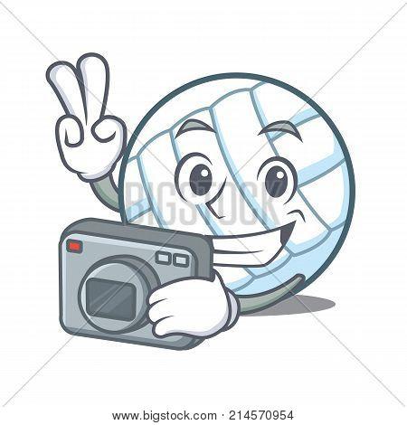 Photographer volley ball character cartoon vector illustration