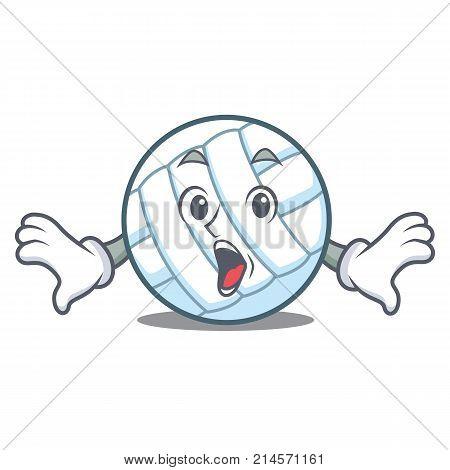 Surprised volley ball character cartoon vector illustration