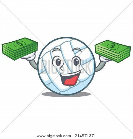 With money volley ball character cartoon vector illustration