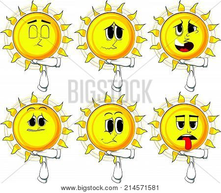 Cartoon sun with time out hand gesture. Collection with sad faces. Expressions vector set.