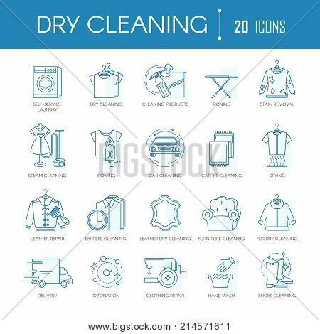 Dry cleaning or laundry service line icons templates for different clothes types, car washing or carpet textile and leather dry clean. Vector symbols and signs set for steam cleaning and ironing