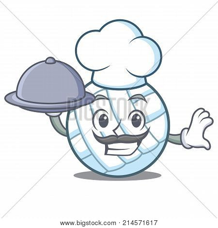 Chef with food volley ball character cartoon vector illustration