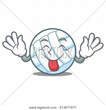 Tongue out volley ball character cartoon vector illustration