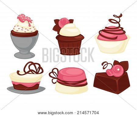 Sweet desserts, cakes and cupcakes icons. Vector isolated chocolate ice cream and fruit muffins, macaron or brownie and cheesecake for patisserie or cafeteria and cafe menu