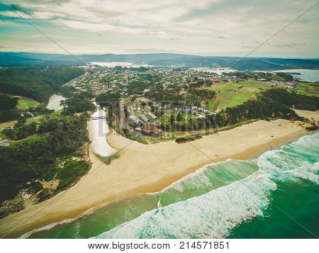 Aerial view of town of Narooma NSW Australia