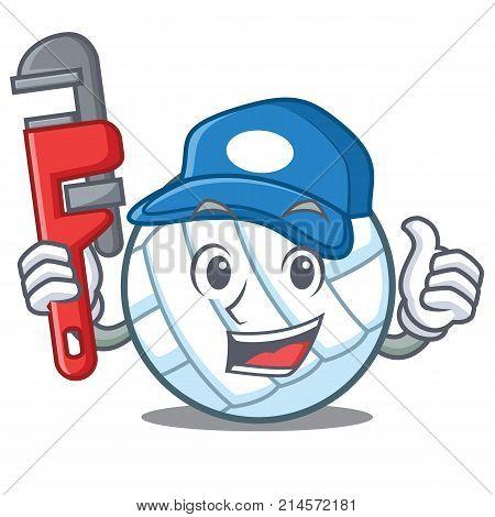 Plumber volley ball character cartoon vector illustration