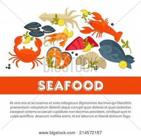 Seafood fresh fish poster for sea food restaurant or fisher market and chef cooking recipe. Vector flat design of lobster crab, salmon or tuna steak and dorada bream and oyster mussels with seasonings