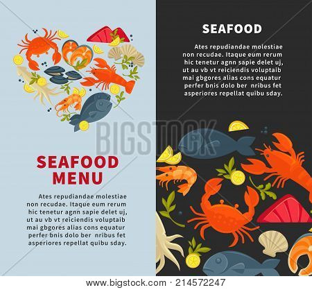 Seafood fish restaurant menu design template for fresh sea food. Vector heart of seafood oyster mussels or shrimp prawn, lobster crab or salmon and tuna steak or dorada bream and squid grill