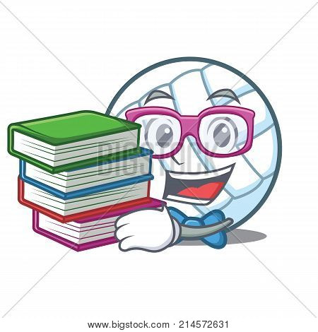 Student with book volley ball character cartoon vector illustration