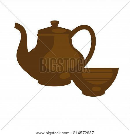 Ceramic or clay brown teapot with bowl cup in Chinese style. Brewed green or black tea pot drink icon for teahouse cafe or cafeteria design element. Vector flat template
