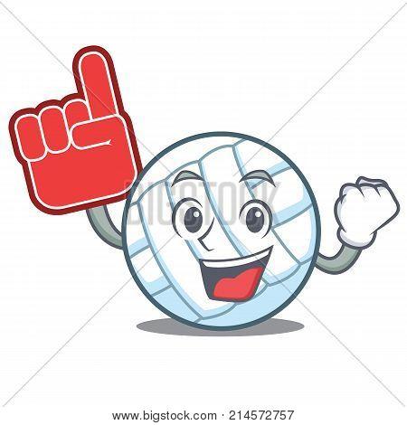 Foam finger volley ball character cartoon vector illustration