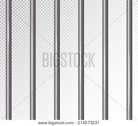 Prison Bars Isolated Vector Illustration. Transparent Background. 3D Metal Jailhouse, Prison House Grid Illustration.
