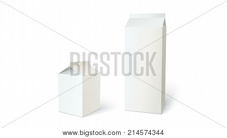 Boxes for milk or juice, can use for branding. Set of different blank carton liquid container. 3D illustration isolated on white background.