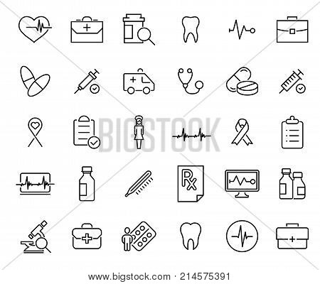 Simple set of medical care related outline icons. Elements for mobile concept and web apps. Thin line vector icons for website design and development, app development. Premium pack.