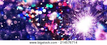 Festive Christmas Background, Valentine's Day. Lights In The Form Of Hearts. Bokeh Background, Color