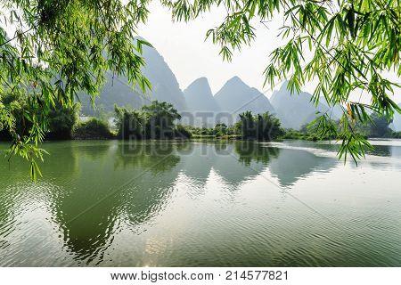 Wonderful View Of The Yulong River At Yangshuo, Guilin, China