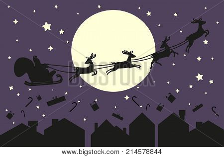 Santa Claus flying in sleigh with deer. Black silhouette on violet sky with moon and sity silhouette. Vector illustration