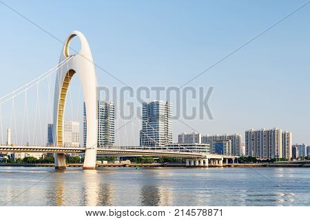 Beautiful View Of The Liede Bridge Over The Pearl River