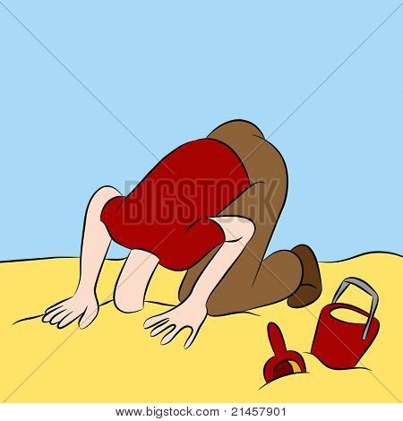 An image of a man with his head stuck in the sand.