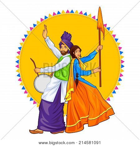 illustration of Sikh Punjabi Sardar couple playing dhol and dancing bhangra on holiday like Lohri or Vaisakhi