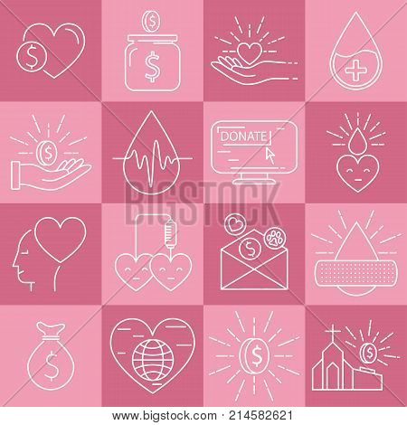 Linear icons of money and blood donation on pink background. Line vector illustrations of donation and charity.