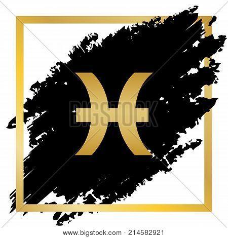 Pisces sign illustration. Vector. Golden icon at black spot inside golden frame on white background.