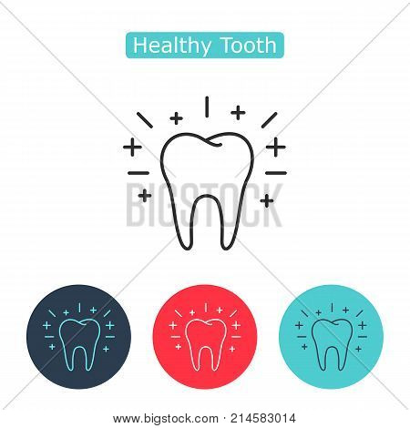 Healthy tooth outline icon on white background. Oral dental hygiene. Children teeth care. Shining effect stars. Medicine symbol for info graphics, websites and print media. Editable stroke.