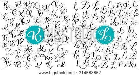 Set letter K, L. Hand drawn vector flourish calligraphy. Script font. Isolated letters written with ink. Handwritten brush style. Hand lettering for logos packaging design poster.