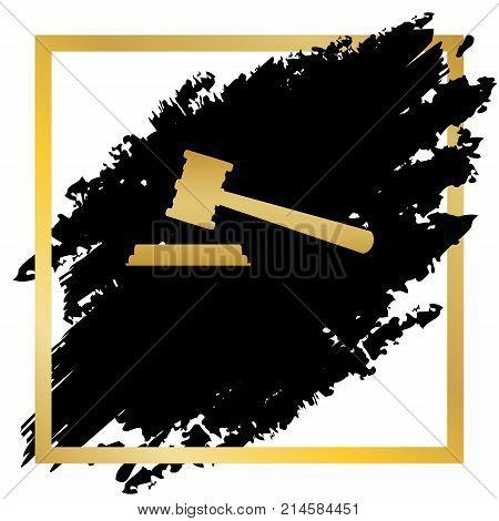 Justice hammer sign. Vector. Golden icon at black spot inside golden frame on white background.